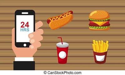 order food online - hand with smartphone order food online...