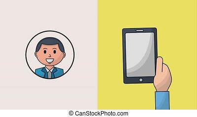 human resources people - hand with smartphone recruitment...