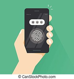 Hand with smartphone unlocked with fingerprint and password field vector, concept of security, protection technology