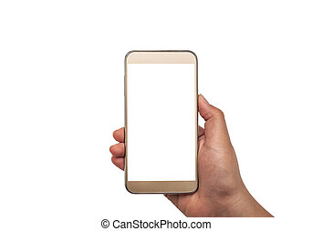 Hand with smartphone white screen isolated, Clipping path