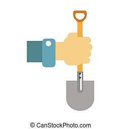 Hand with spade vector illustration isolated on white.