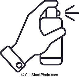 hand with spray vector line icon, sign, illustration on background, editable strokes