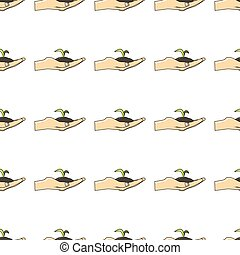 Hand with sprout seamless pattern in cartoon style isolated on white background vector illustration