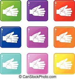 Hand with stains icons 9 set