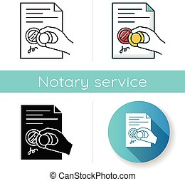 Hand with stamp icon. Certificate. Notarized document. ...