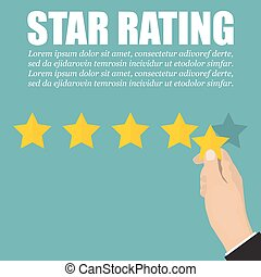 Hand with star to rating stars in a flat design