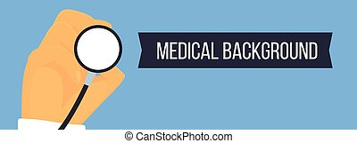 Hand with stethoscope medical vector banner.
