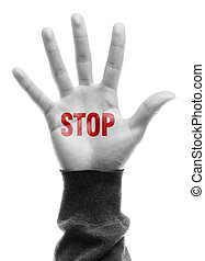 Stop - Hand with Stop text is isolated on white background.
