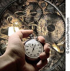 Hand with stopwatch and clockwork inside - Clockwork inside...