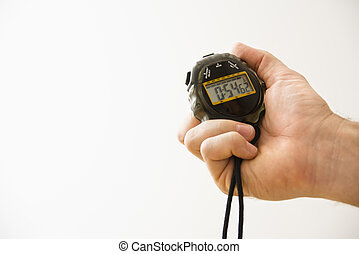 Hand with stopwatch. - Close-up of adult male hand holding ...