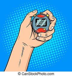 Hand with stopwatch pop art vector illustration
