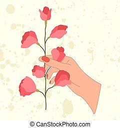 Hand with sweet pea pink flower in flat style.