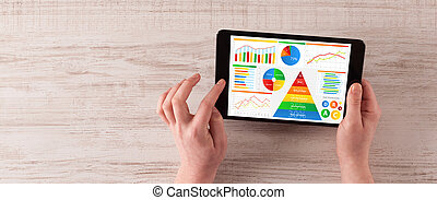 Hand with tablet analysing the daily food report