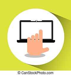 hand with tablet icon