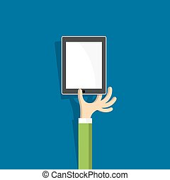 Hand with tablet (pc)  in cartoon style