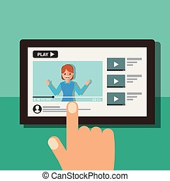 hand with tablet woman on screen video blogger