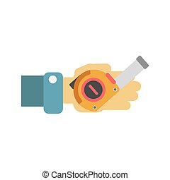 Hand with tape-measure - Vector illustration of a worker...