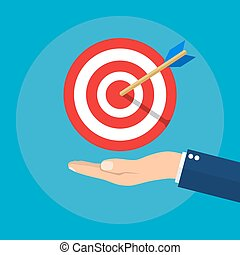 Hand with target and arrow. Business concept. Vector illustration in flat style