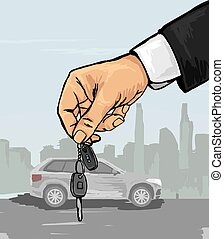 Hand with the car keys - Vector illustration of a hand with...