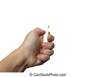 hand with the cigarette lighter on a white background
