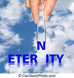 hand with the forceps and the word eternity