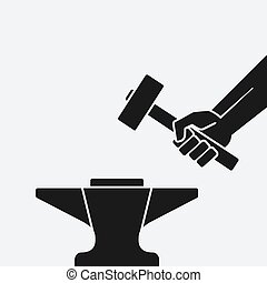 Hand with the hammer above anvil. vector illustration - eps...