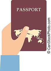 Hand with the passport on a white background