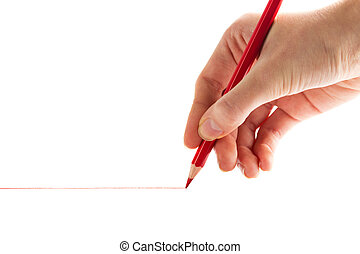 hand with the red pencil on a white background