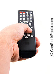 Hand with the remote control