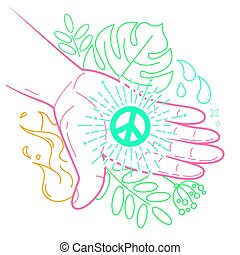hand with the symbol of peace - The concept of peace in the...