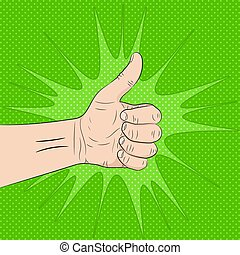 Hand with the thumb up. Vector illustration.