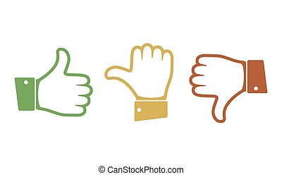 Hand with the thumb. Vector illustration.