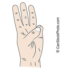 Hand with three fingers up
