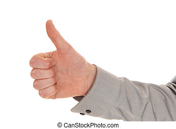 Hand with thumb up. - A closeup picture of a man's hand with...