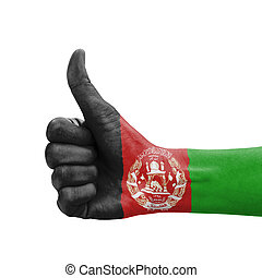 Hand with thumb up, Afghanistan flag painted