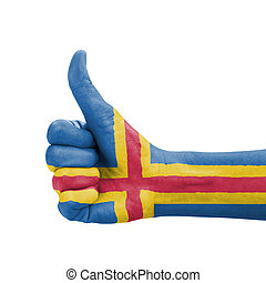 Hand with thumb up, Aland Islands flag painted