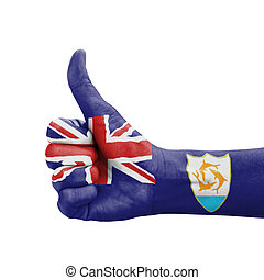 Hand with thumb up, Anguilla flag painted