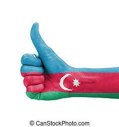 Hand with thumb up, Azerbaijan flag painted