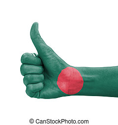 Hand with thumb up, Bangladesh flag painted