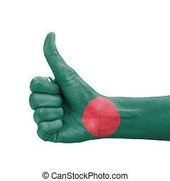 Hand with thumb up, Bangladesh flag painted