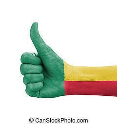Hand with thumb up, Benin flag painted as symbol of excellence