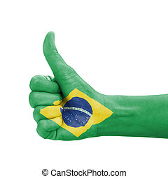 Hand with thumb up, Brazil flag painted as symbol of excellence