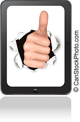 Hand with thumb up breaking through touchpad. Conceptual ...