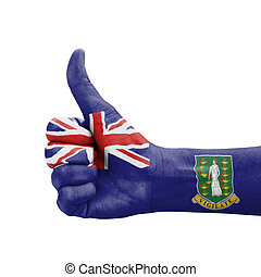 Hand with thumb up, British Virgin Islands flag painted
