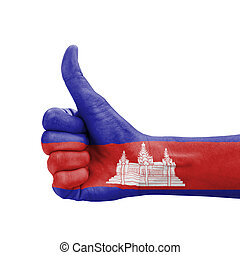 Hand with thumb up, Cambodia flag painted