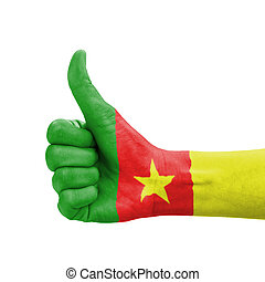 Hand with thumb up, Cameroon flag painted