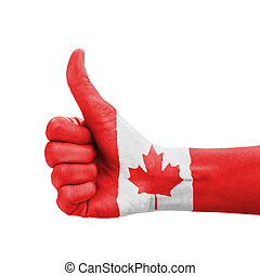 Hand with thumb up, Canada flag painted as symbol of...