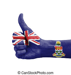 Hand with thumb up, Cayman Islands flag painted