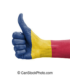 Hand with thumb up, Chad flag painted as symbol of excellence