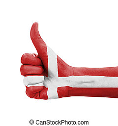 Hand with thumb up, Denmark flag painted as symbol of excellence, achievement, good - isolated on white background